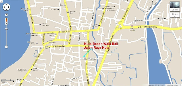 Location Map of Beach Walk Kuta Bali island,Kuta Beach Walk Kuta Bali location map,Beach Walk Kuta Bali accommodation destinations attractions hotels map