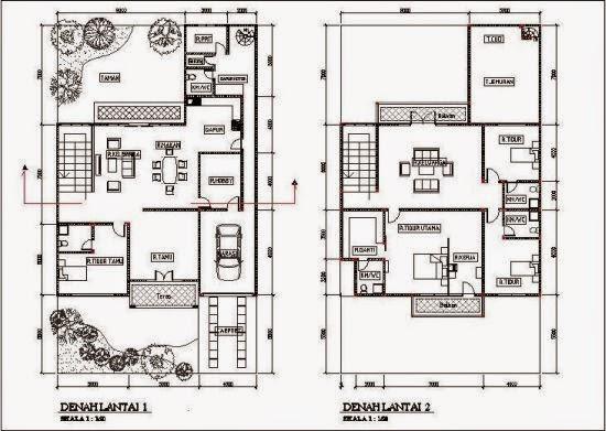 denah rumah minimalis modern 2 lantai type45
