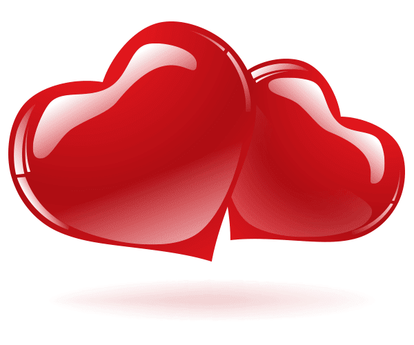Glossy Red Hearts