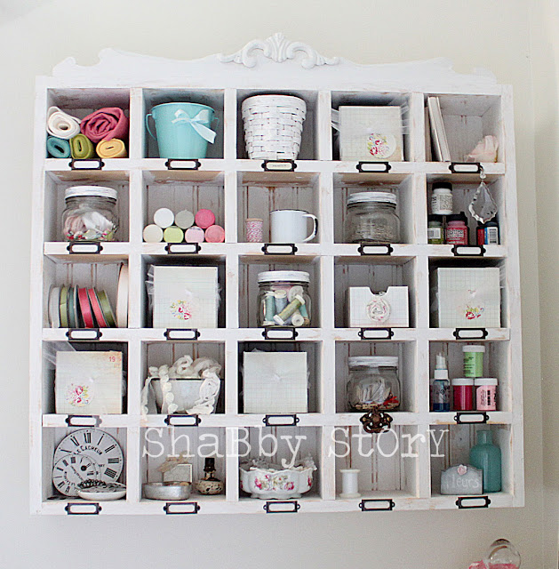 cubby craft storage mounted on wall