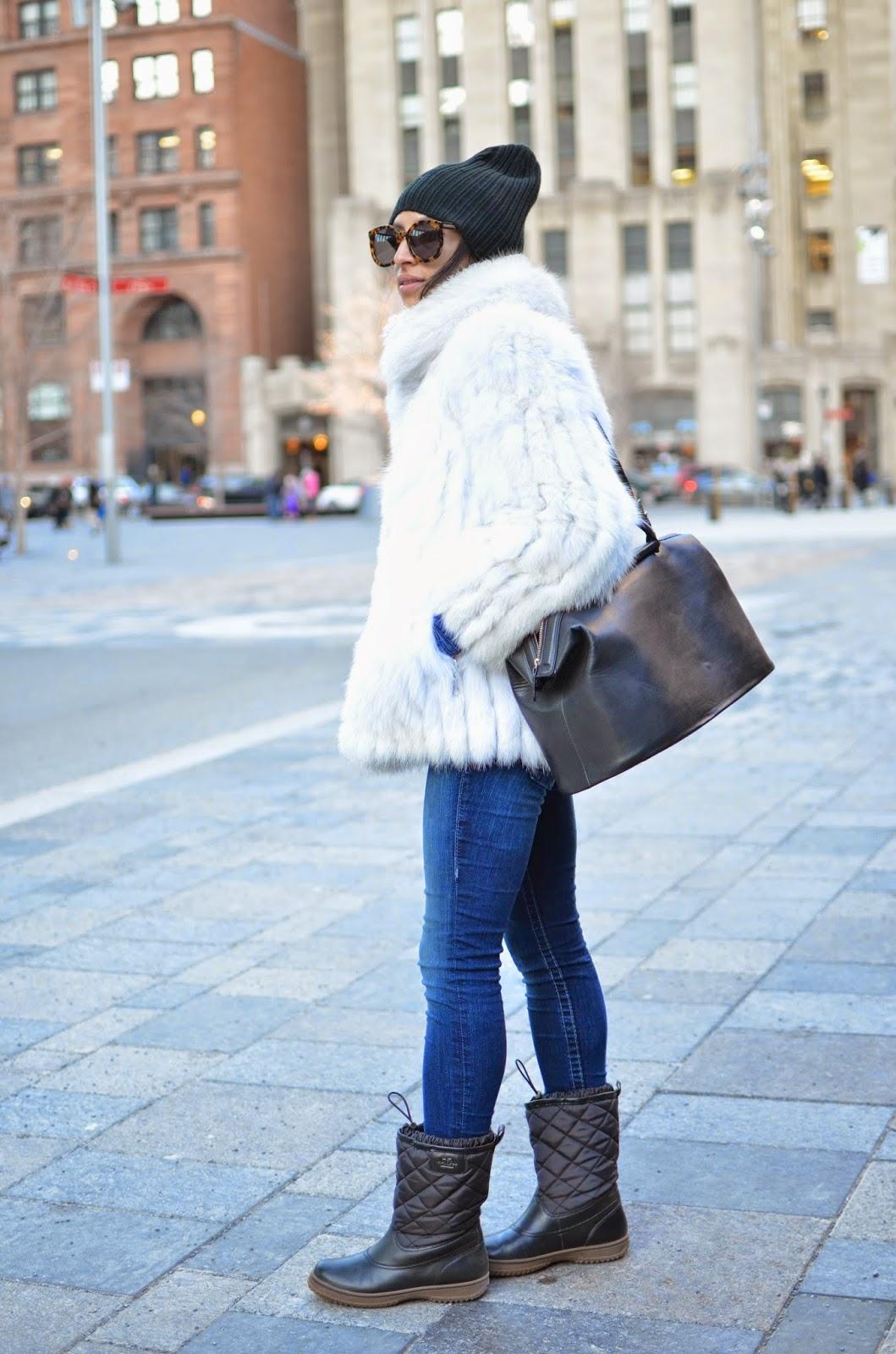 Karen Walker Super sunglasses, winter style, vintage, vintage fur, Montreal, Montreal style, Old Montreal, Coach snow boots