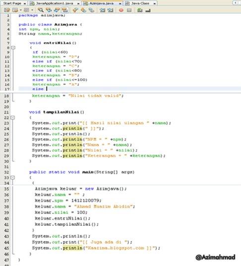 Pemrograman Java, Contoh Aplikasi Java Sederhana.