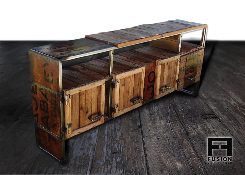 Mueble tv madera reciclada fusion mobiliario for Diseno de muebles con madera reciclada