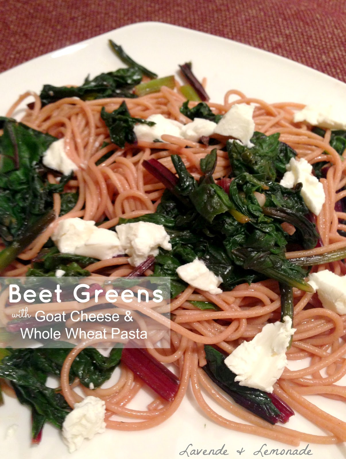 Beet greens with goat cheese and whole wheat pasta