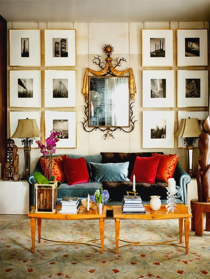 Classic inspirational interiors a pop of tangerine and red - Interior design inspiration living room ...