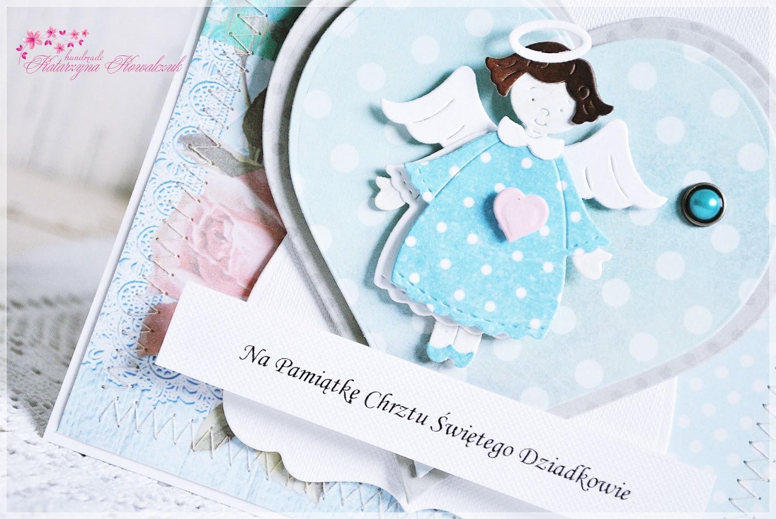 kartka z aniołkiem z okazji chrztu świętego scrapbooking