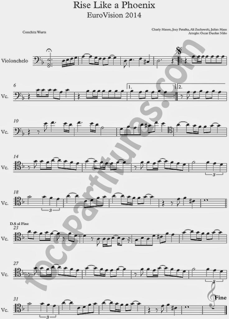 Rise Like a Phoenix Partituras en Clave de  Fa en 4º Línea para Trombón, Chelo, Fagot, Bombaridno, Tuba y otros instrumentos  Sheet Music in Bass Clef for Trombone, Chelo, Bassoon, Tube, Euphonium... Partituras Eurovisión 2014