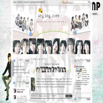 Hey Say Jump ! Blogger Template. template music for blog
