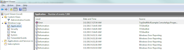 An image showing the error in the Application Windows Log.