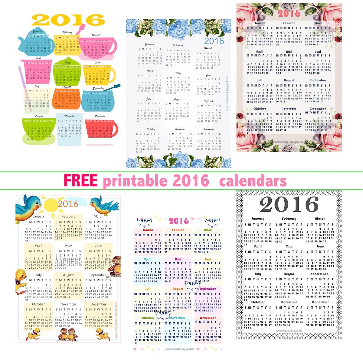Over 42 free printable 2016 calendars - Kalender 2016 - freebie round ...