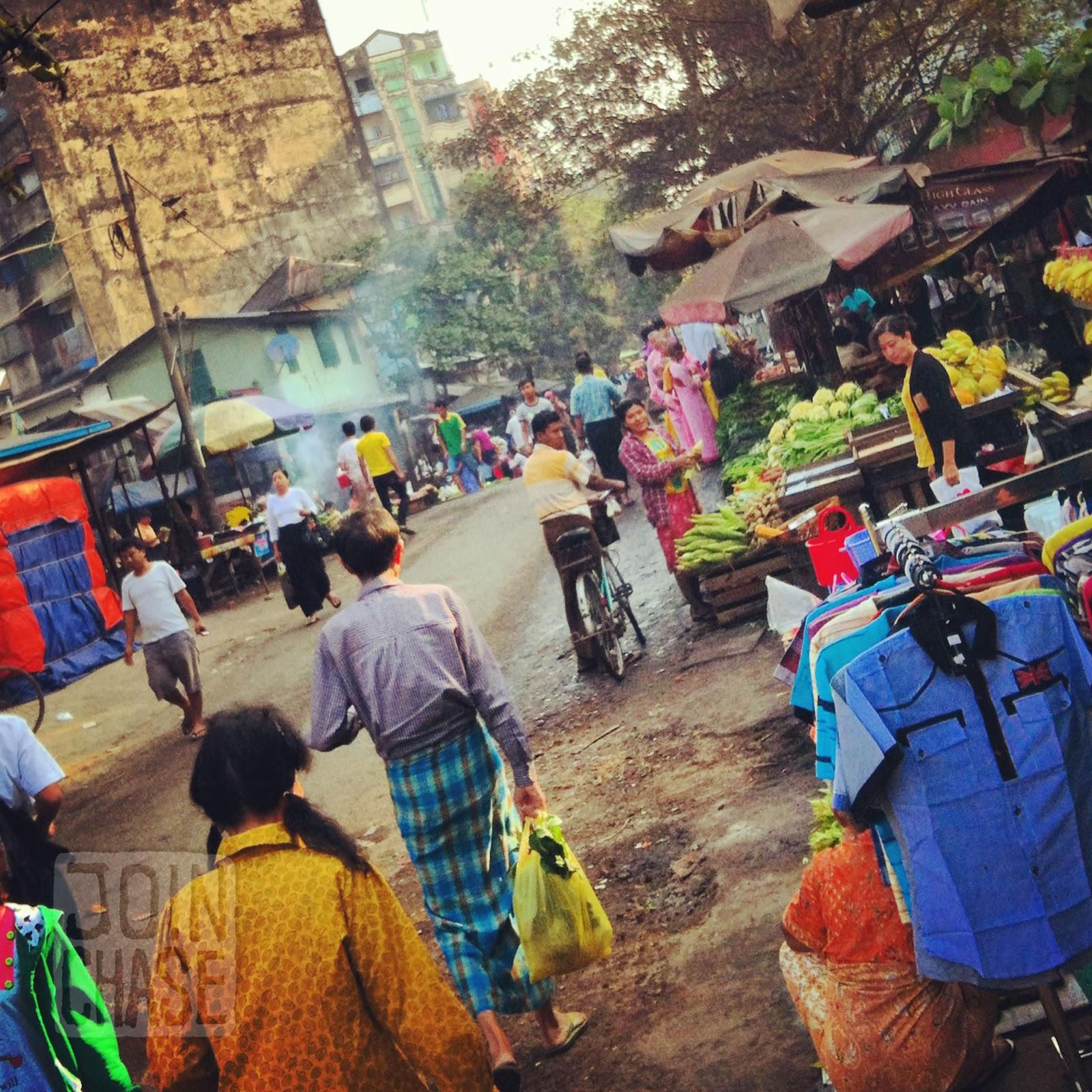 Sin Min market in Ahlone Townhip, Yangon, Myanmar.