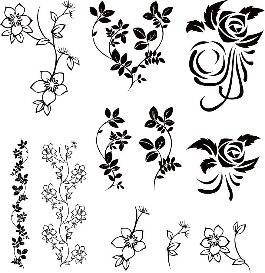 植物柄の飾り罫 Vector Floral Pack イラスト素材