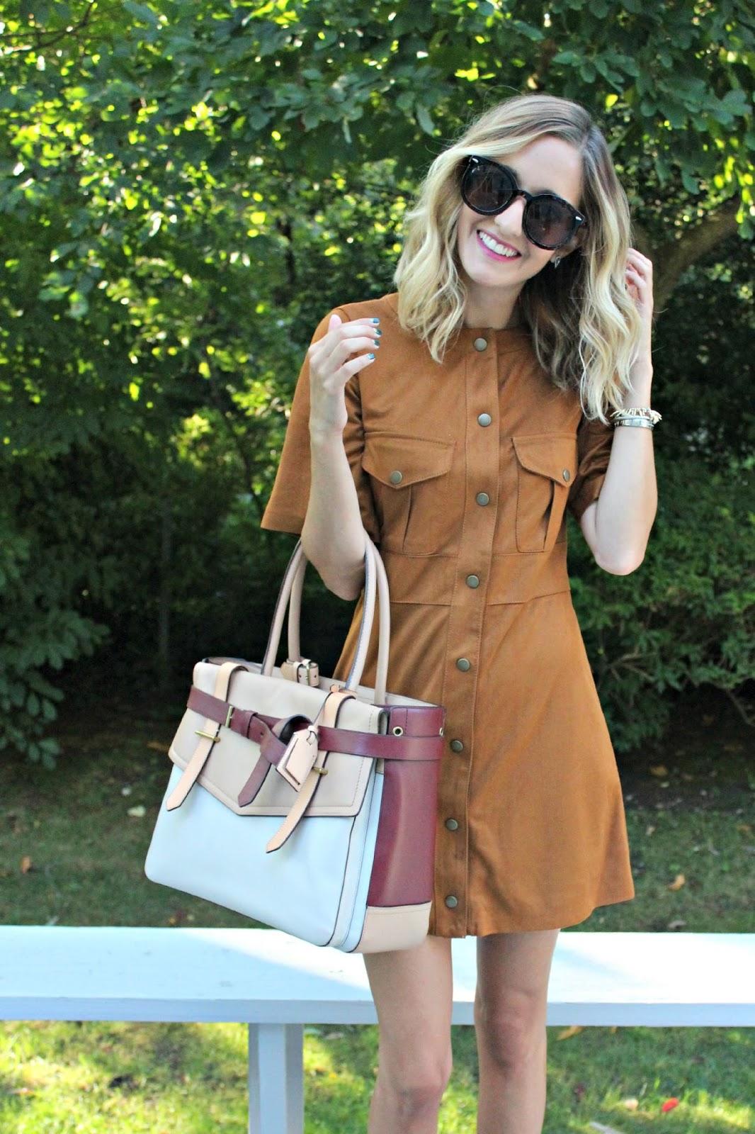 brown button up dress from zara