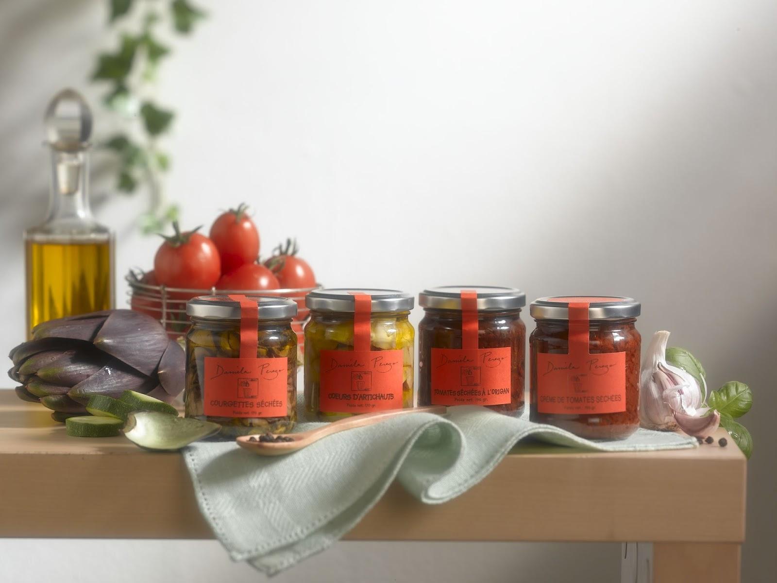produits gourmands artisanaux cr s par daniela perego l gumes en conserves l 39 huile d 39 olive. Black Bedroom Furniture Sets. Home Design Ideas