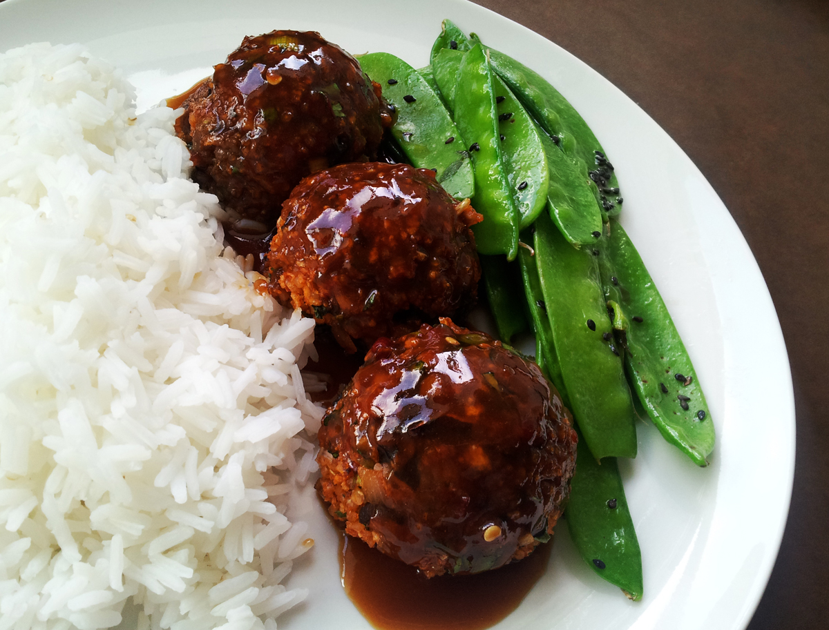 Profound Hatred of Meat: Spicy Asian Meatballs with Snap Peas