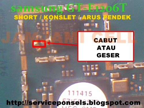 Solusi Konslet/Short pada samsung GT-E1205T, Jamjami cell