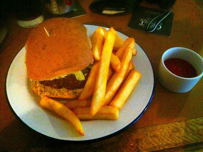Burger and chips at The Lansdowne Cardiff