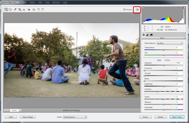 Recently I found someone asking about a way to open Adobe Camera Raw in Full Screen, to better utilize whole monitor screen to process Raw files.But many times I have seen this question is different form - Why my Adobe Camera Raw Window opens up in Full Screen and also hides Windows Task-Bar? Anyways, answer is same for both the questions. There is a control which can be used to expand Adobe Camera Raw Window to Full Screen and Collapse to default size. Please see highlightd control in RED. This control helps in toggling between Full Screen View and Standard Size of Adobe Camera Raw.