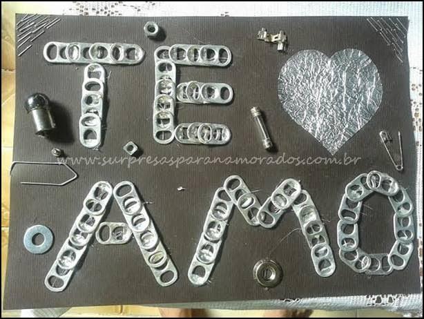eu te amo tampinha de alumínio
