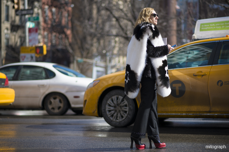 Woman wearing Prada Pants and Shoes After Derek Lam New York Fashion Week 2013 2014 Fall Winter NYFW