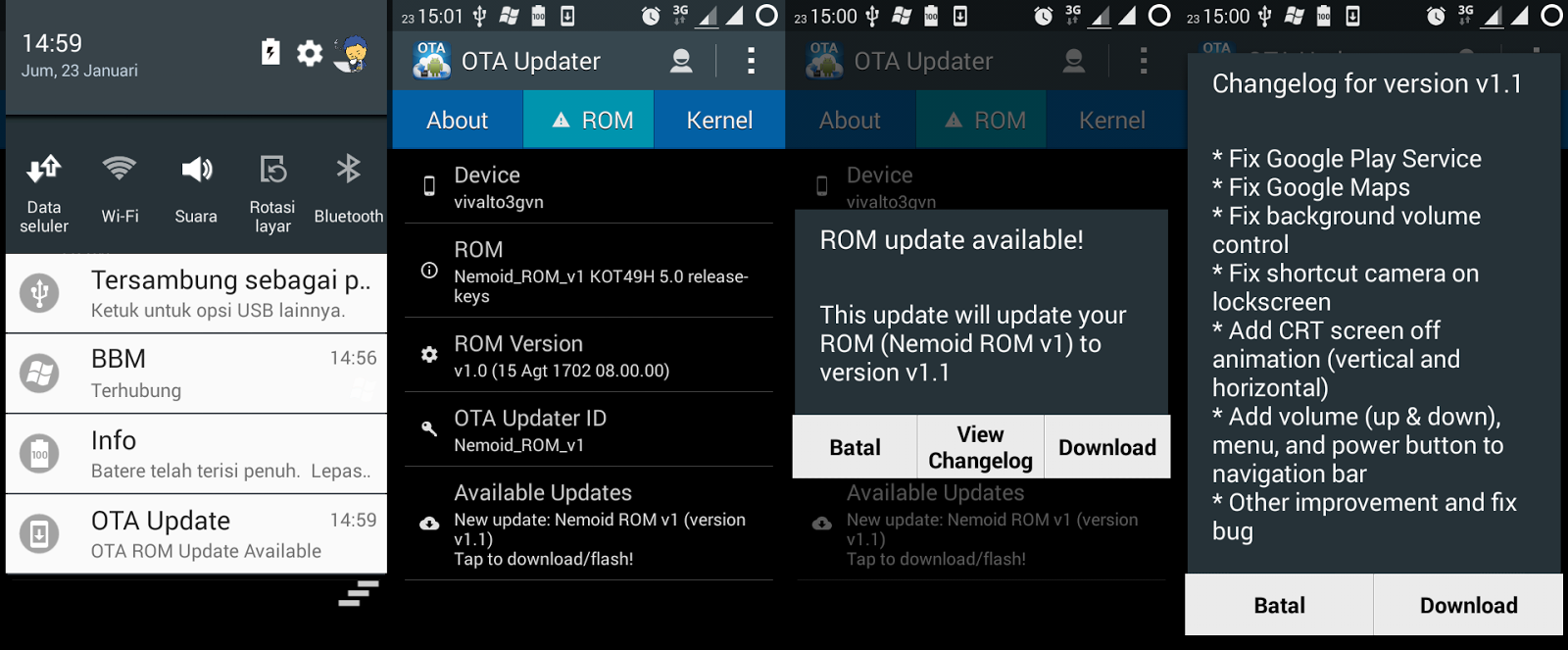 screenshot update nemoid rom v1.1 galaxy v sm-g313hz