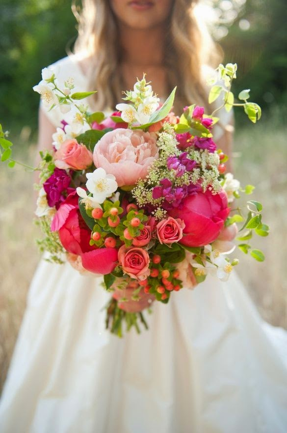 Bridal Bouquet With Color : Beautiful bridal berry colored bouquets