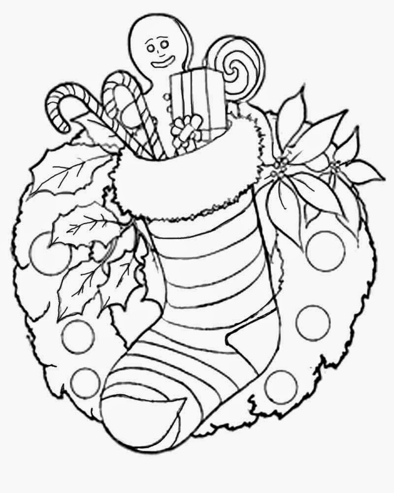 Coloring pages xmas decorations - Kids Charming Wallpaper Santa Claus Sock Decorations Christmas Pictures To Colour In For Teenagers