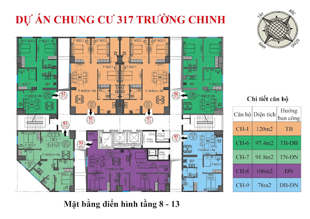 Mặt bằng thiết kế tầng 8-13 chung cư 317 trường chinh