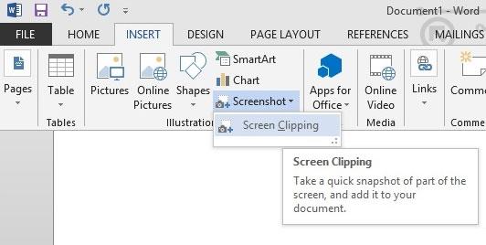 Hướng dẫn sử dụng Screenshot Tool trong Word 2013 3