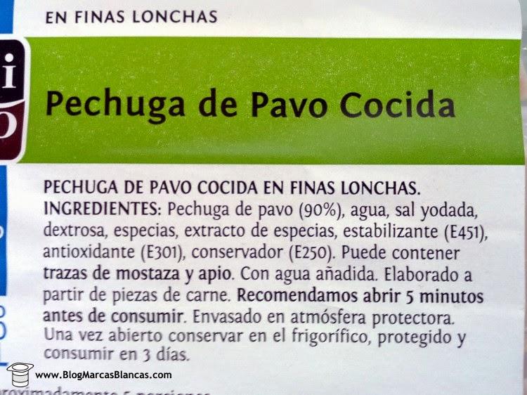 Ingredientes de la Pechuga de pavo cocida en finas lonchas con contenido reducido en sal Delicato de Aldi.