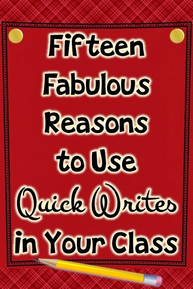 http://theteaching2step.wordpress.com/2014/11/04/fifteen-fabulous-reasons-to-use-quick-writes-in-your-class/