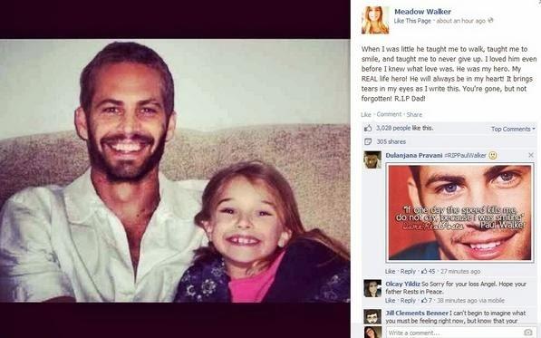 «Σ' αγαπώ μπαμπά» γράφει η κόρη του Paul Walker
