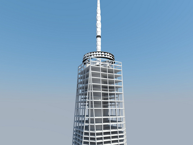 Structure rendering of One World Trade Center by Skidmore, Owings & Merrill LLP (SOM)