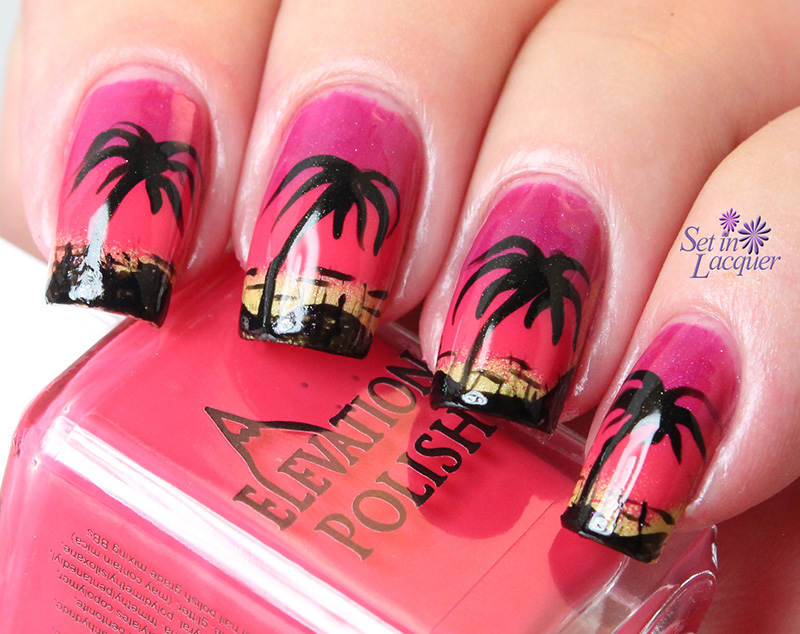 Beach sunset nail art