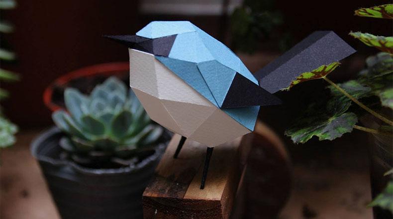 Pájaros y animales geométricos realizados con papel  por Guardabosques