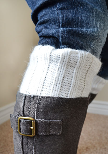 DIY boot socks from an old sweater: Little Paper Dog