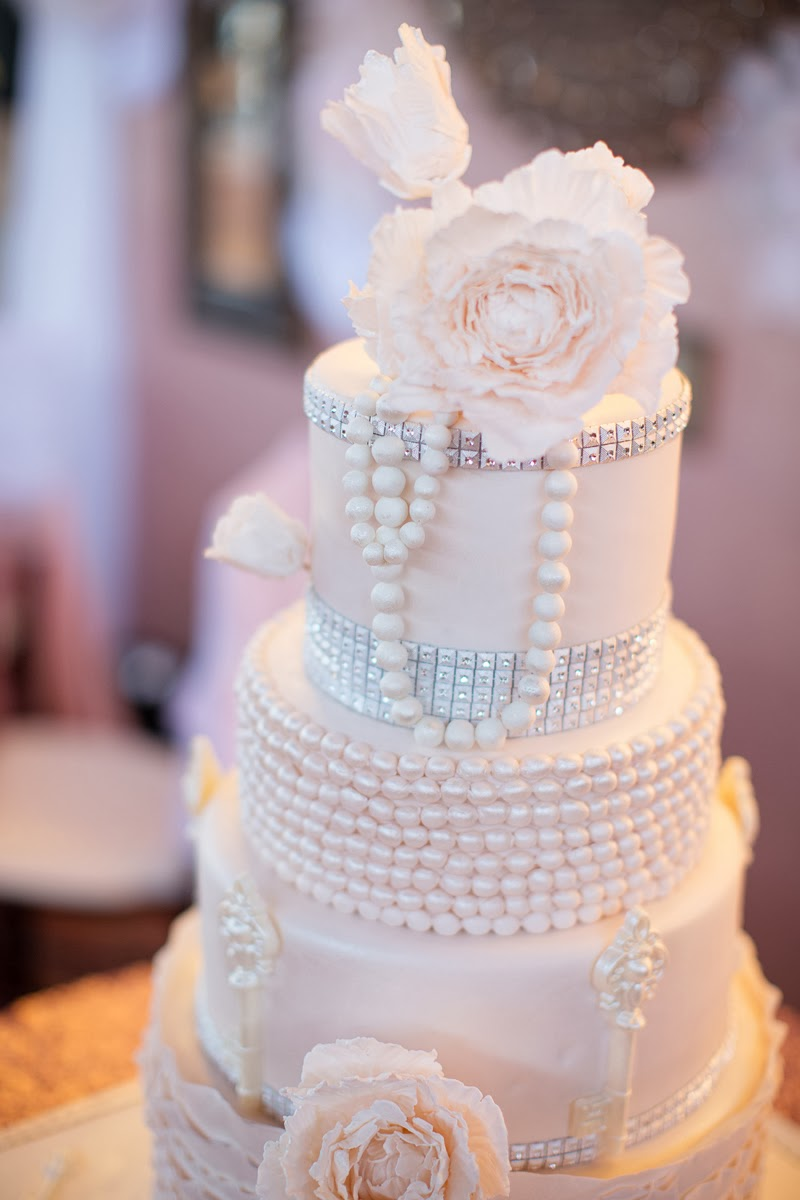 Angel Cakes Bakery Pearls Peonies Bling Wedding Cake Macaron Towers