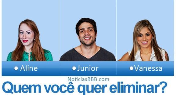 Votação Paredão BBB14:Aline, Junior e Vanessa