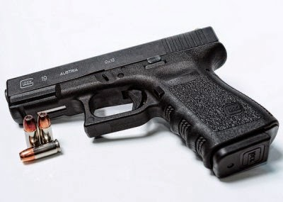 The Glock 19 is blocky but ubiquitous.