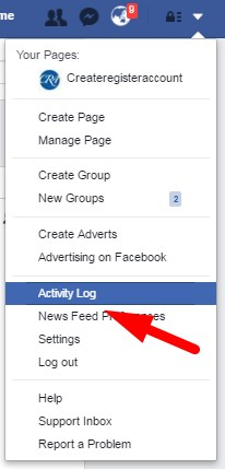 Activity Log on Facebook
