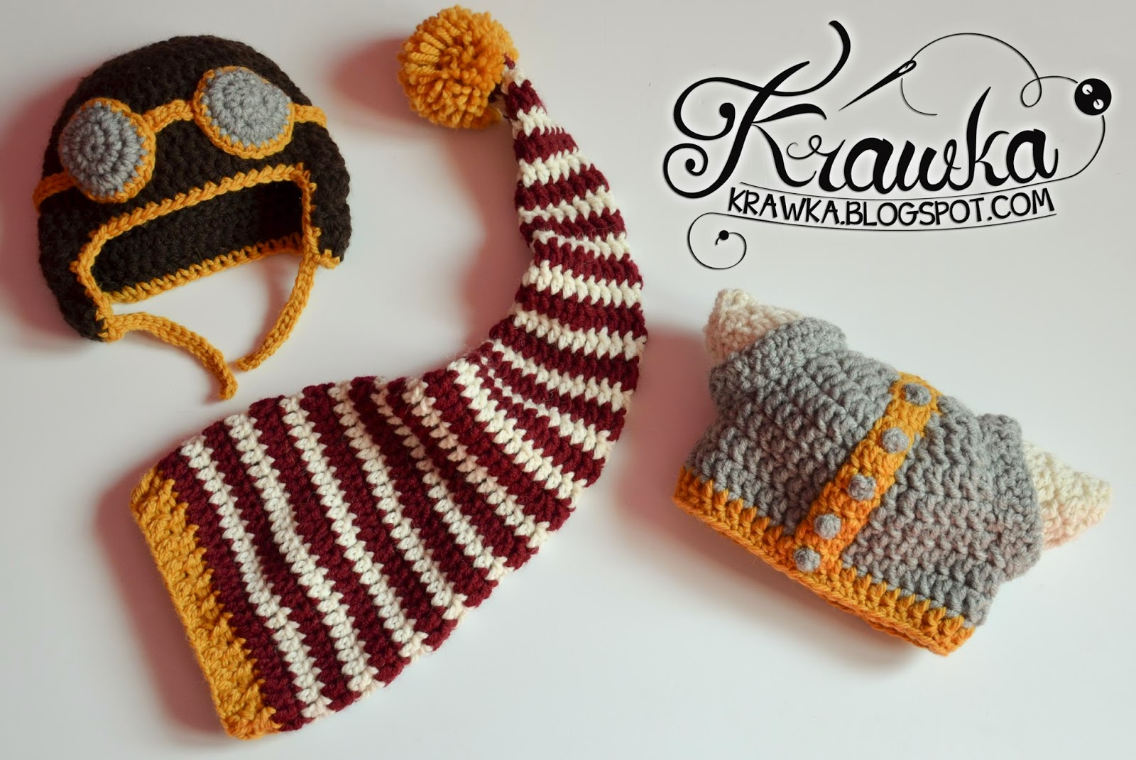 Krawka: Set of three crochet hats for a newborn - aviator, elf and viking hats. Props for a photo session of a newborn baby.