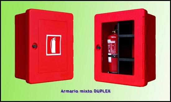 Armario extintor doble, cabina portaextintor.