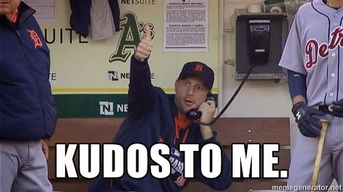 """Max Scherzer meme: on phone, thumbs up, saying """"Kudos to me!"""""""