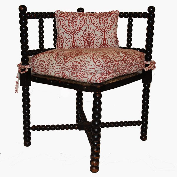 Antique Corner Bobbin Chair in Les Indiennes