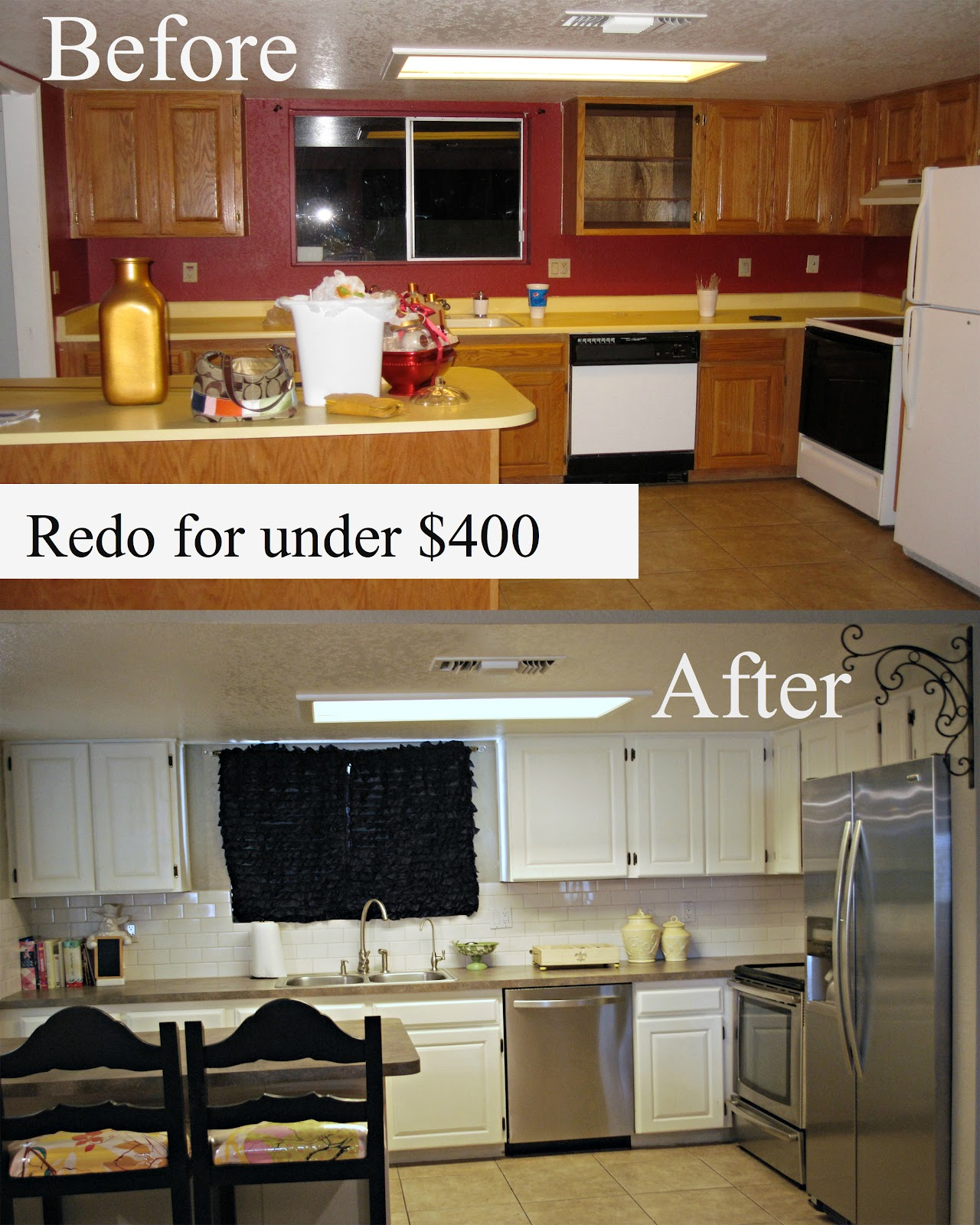 My kitchen redo under 400 classy clutter for Before after kitchen makeovers