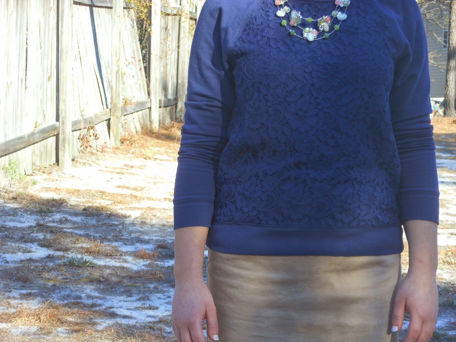 Mix It Monday-Lace Sweatshirt, khaki pencil skirt, leopard flats, statement necklace.http://mybowsandclothes.blogspot.com/. #outfit #outfitpost #outfitinspiration #statementnecklace #lace