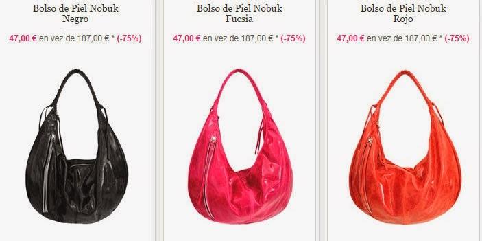 Ejemplos de bolsos en negro, fucsia y rojo fabricados en piel de Nobuk