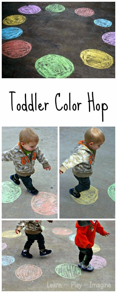 Simple gross motor game for toddlers to teach color recognition
