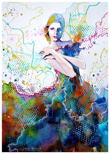 Jana Lepejova jane-beata deviantart pinturas aquarela mulheres olhares femininos O vestido