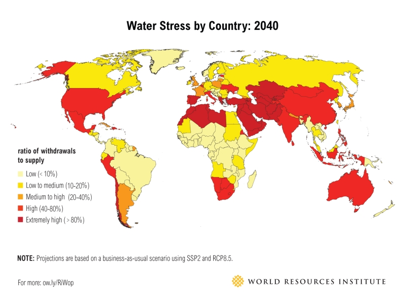 Water stress by country in 2040